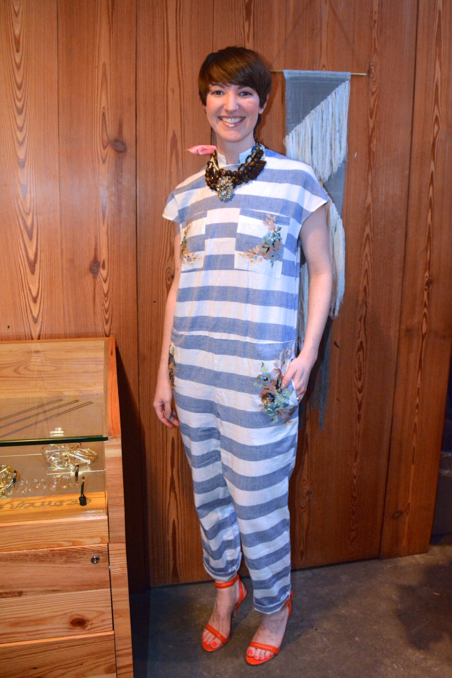 Bird's Catherine Lerer wearing Suno Boxy Striped Onesie